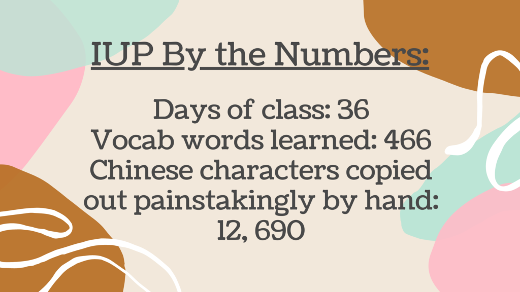 IUP By The Numbers: Days of class: 36 Vocab words learned: 466 Chinese characters copied out painstakingly by hand: 12,690