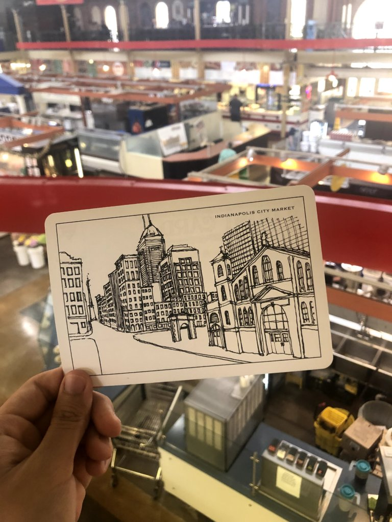 post card of city market